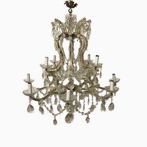 Großer italienischer Vintage Kristallglas Kronleuchter