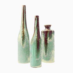 Botellas de cerámica esmaltada de Viba, años 60. Juego de 3