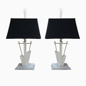 Amerikanische Modernistische Lucite Lampen von Moss Lighting Co., 1950er, 2er Set