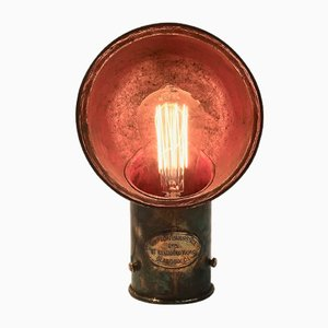 Mid-Century Red Painted Brass Boat Deck Lamp
