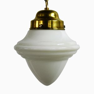Art Deco Opaline Pendant Light, 1930s