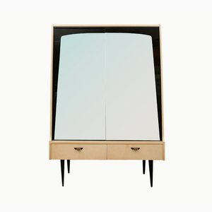 Birch Veneered Cabinet or Dresser with Mirrored Doors, 1950s