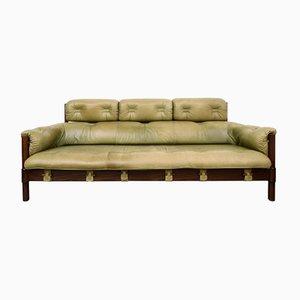 Eichenholz Sofa mit grünem Lederbezug, 1970er