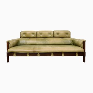Oak Sofa with Green Leather Upholstery, 1970s