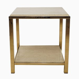 Gold and Travertine Coffee Table from Belgo Chrom & Dewulf Selection, 1970s