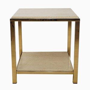 Table Basse en Or et Travertin de Belgo Chrom & Dewulf Selection, 1970s