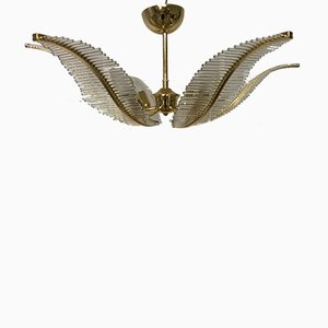 Mid-Century Glass Rod Leaf Flush Mount Chandelier by Gaetano Sciolari