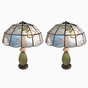 Lámparas de mesa italianas vintage de piedra ónix en verde. Juego de 2