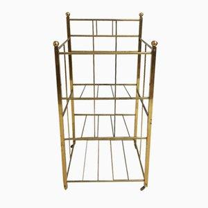 Art Deco Brass Rolling Display Shelves