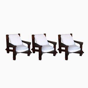 Moderne Vintage Armlehnstühle, 3er Set