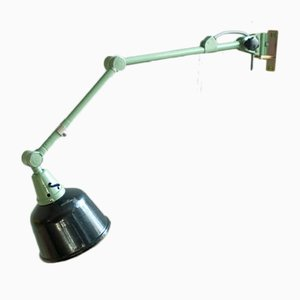 Vintage Enameled Reflector & Green Hinge Lamp by Curt Fischer for Midgard / Industriewerke Auma