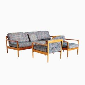 Juego de salón con estructura de teca de Knoll International, años 60