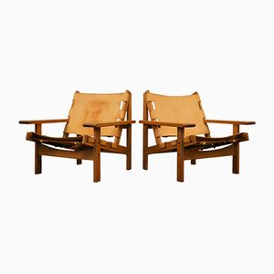 Vintage Leder Sessel mit Eiche Gestellen von Erling Jessen für Dahlmanns, 2er Set