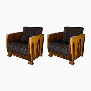 Art Deco Rosewood Club Chairs, 1920s, Set of 2