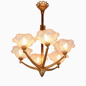 Art Deco 6-Arm Chandelier, 1920s