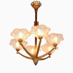 Lámpara de araña Art Déco de 6 brazos, años 20