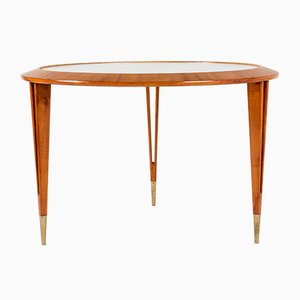 Glass and Mahogany Coffee Table by Bertil Fridhagen for Bodafors, 1940s