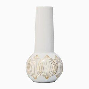 Vase Vintage Blanc en Porcelaine avec Lignes Dorées par Bjorn Wiinbald pour Rosenthal Studio Line