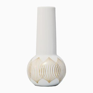 Vintage White Porcelain Vase with Gold Lines by Bjorn Wiinbald for Rosenthal Studio Line