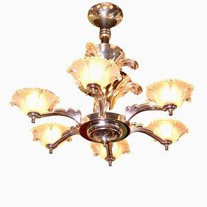 Lámpara de araña Art Déco de 6 brazos con fuentes de vidrio, años 30