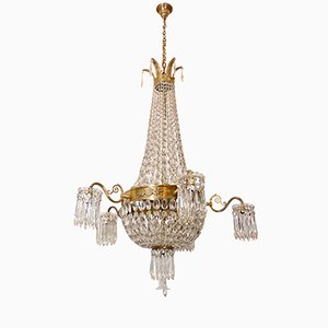 Grand Lustre Empire Antique en Cristal, 1900s
