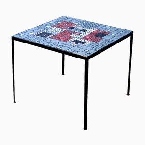Tavolino quadrato con mosaico in vetro colorato, anni '60