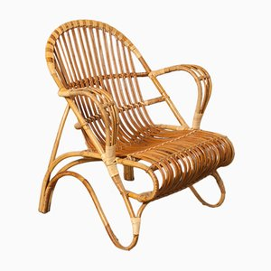 Rattan Lounge Chair by Dirk van Sliedrecht for Rohé Noordwolde, 1950s