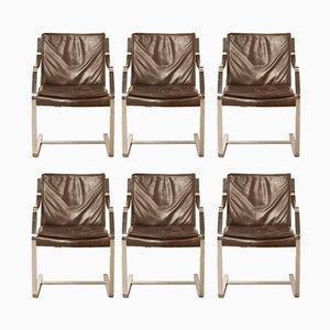 Chaises de Bureau Vintage en Cuir Marron de Knoll International, 1970s, Set de 6