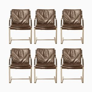 Vintage Brown Leather Office Chairs from Knoll International, 1970s, Set of 6