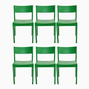 Mid-Century Green Modern Dining Room Chairs by Carl Auböck for E.& A. Pollack, 1950s, Set of 6