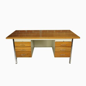 Mid-Century Metal and Wood Executive Desk from Strafor, 1950s