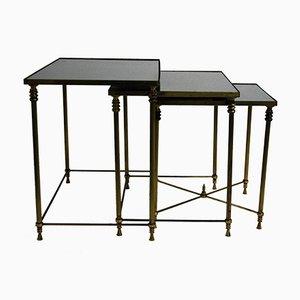 Tavolini a incastro neoclassici in ottone, anni '60