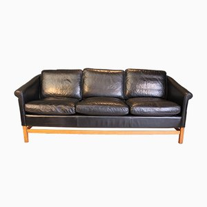 Beech & Black Leather 3-Seater Sofa from Stouby, 1970s