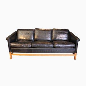 Schwarzes Leder 3-Sitzer Sofa mit Buche Gestell von Stouby, 1970er