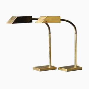 Large Mid-Century Brass Desk Lamps from Vereinigte Werkstätten, 1960s, Set of 2