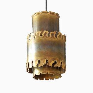 Lampe à Suspension Brutaliste Faite à la Main en Laiton par Holm Sørensen, 1960s