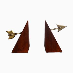 Lancillotto Wood & Brass Bookends by Marco Bertin for Morelato, 1998, Set of 2