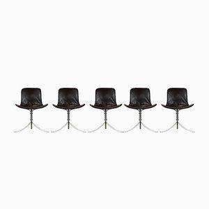 PK9 Stühle von Poul Kjærholm für Fritz Hansen, 1980er, 5er Set