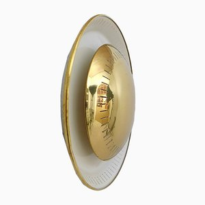 Round German Brass Wall Light from Kaiser Leuchten, 1950s