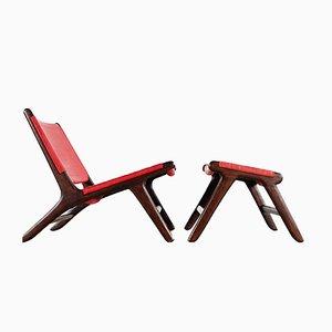 Sessel aus Leder und Holz mit Fußhocker von Vladimir Kagan, 1950er