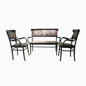 Antique Bentwood Armchairs and Sofa Set by H. Malveau for Josef & Jacob Kohn, 1900s