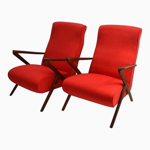 Italian Red Lounge Chairs with Mahogany Frames, 1950s, Set of 2