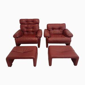 Coronado Stühle mit Ottomanen von Tobia & Afra Scarpa für B&B Italia, 1970er, 2er Set