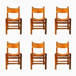 Chaise en Cuir & Orme de Maison Regain, 1960s, Set de 6