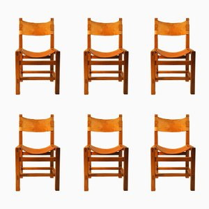 Stühle aus Ulme & Leder von Maison Regain 1960er, 6er Set
