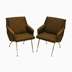 French Black and Gold Striped Lounge Chairs, 1950s, Set of 2