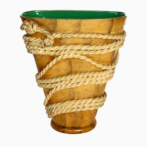 Art Deco Terracotta & Rope Vase by Ugo Zaccagnini