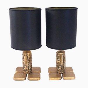 Lámparas de mesa de bronce de Luciano Frigerio para Frigerio di Desio, años 70. Juego de 2
