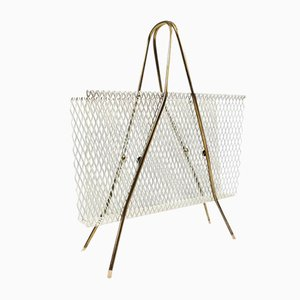 Brass & Lacquered Metal Magazine Rack, 1950s