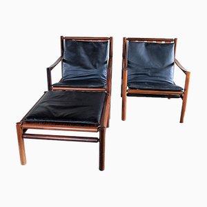 2 Palisander Sessel & 1 Fußschemel von Jorgen Nilsson für J.H. Johanssens, 1960er